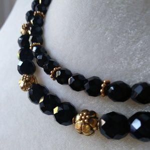 Gold Vermeil & Black Bead Necklace